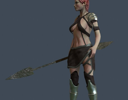 girl warrior 3d model rigged realtime