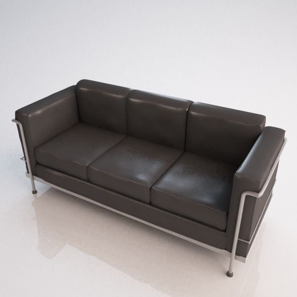 Le corbusier sofa 3d model max obj ma mb for Le corbusier sofa nachbau
