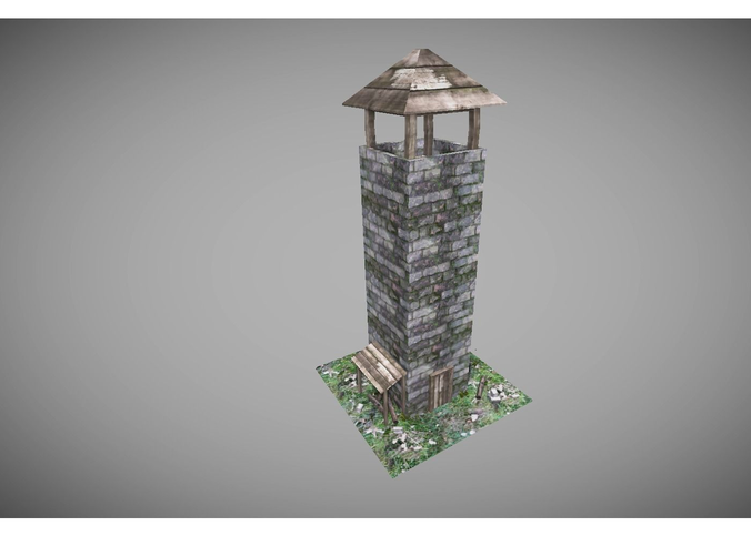 low poly medieval tower3D model