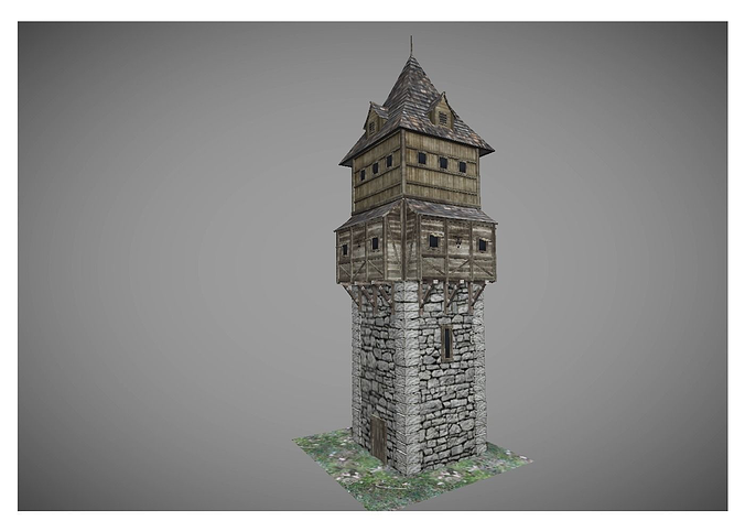 low poly medieval tower 2 3d model low-poly obj mtl 3ds fbx lwo lw lws hrc xsi blend 1