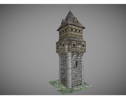 low poly medieval tower 2 3D Model