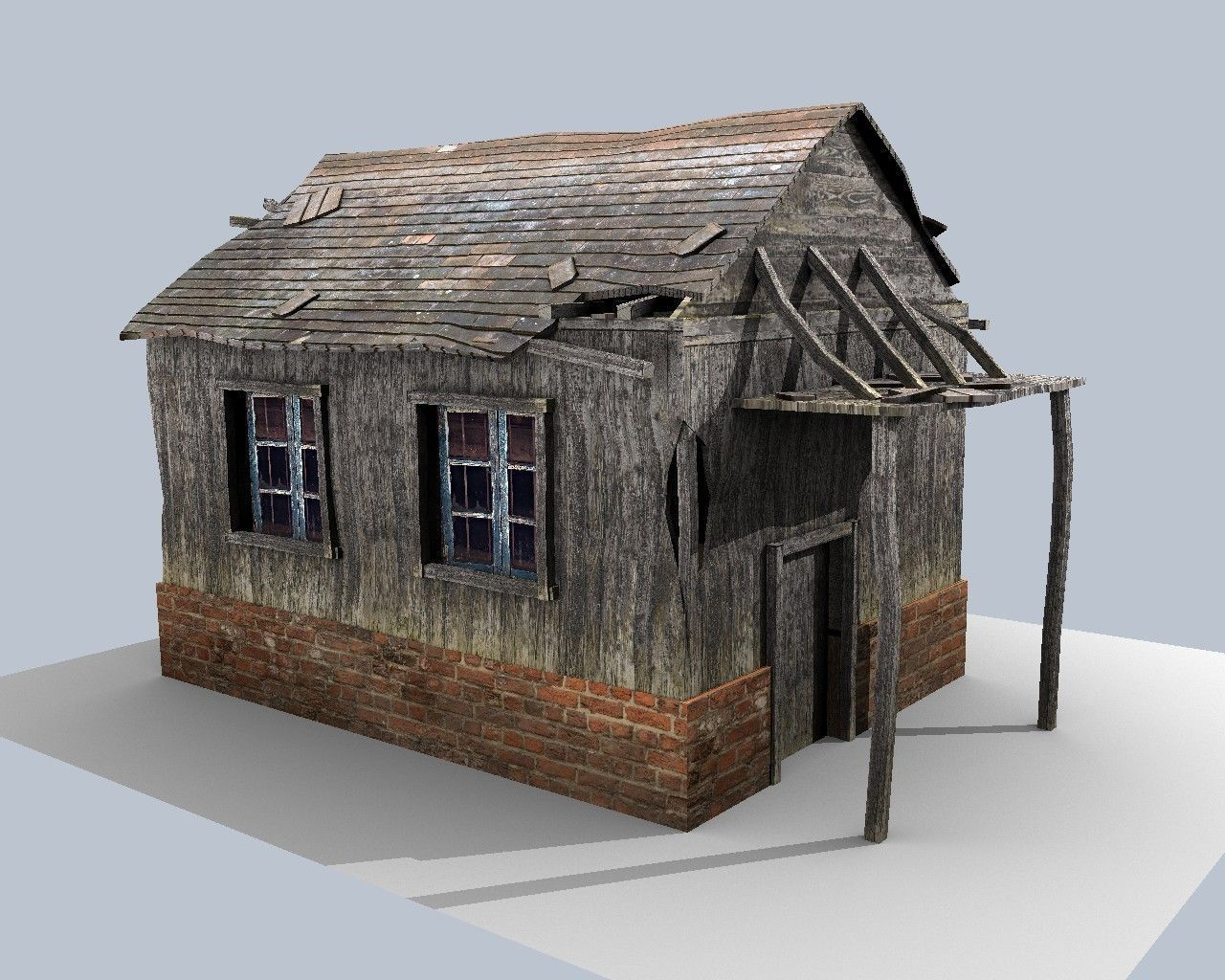 3d Model Low Poly Damaged House Vr Ar Low Poly Obj 3ds