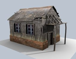 low poly damaged house 3D Model