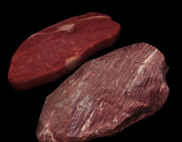 Raw Beef Steaks 3D asset
