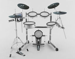 drum kit game-ready 3d model