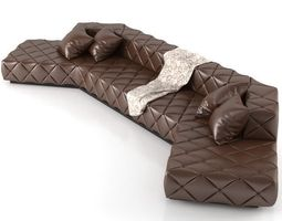 Big Leather Corner Sofa 3D Model