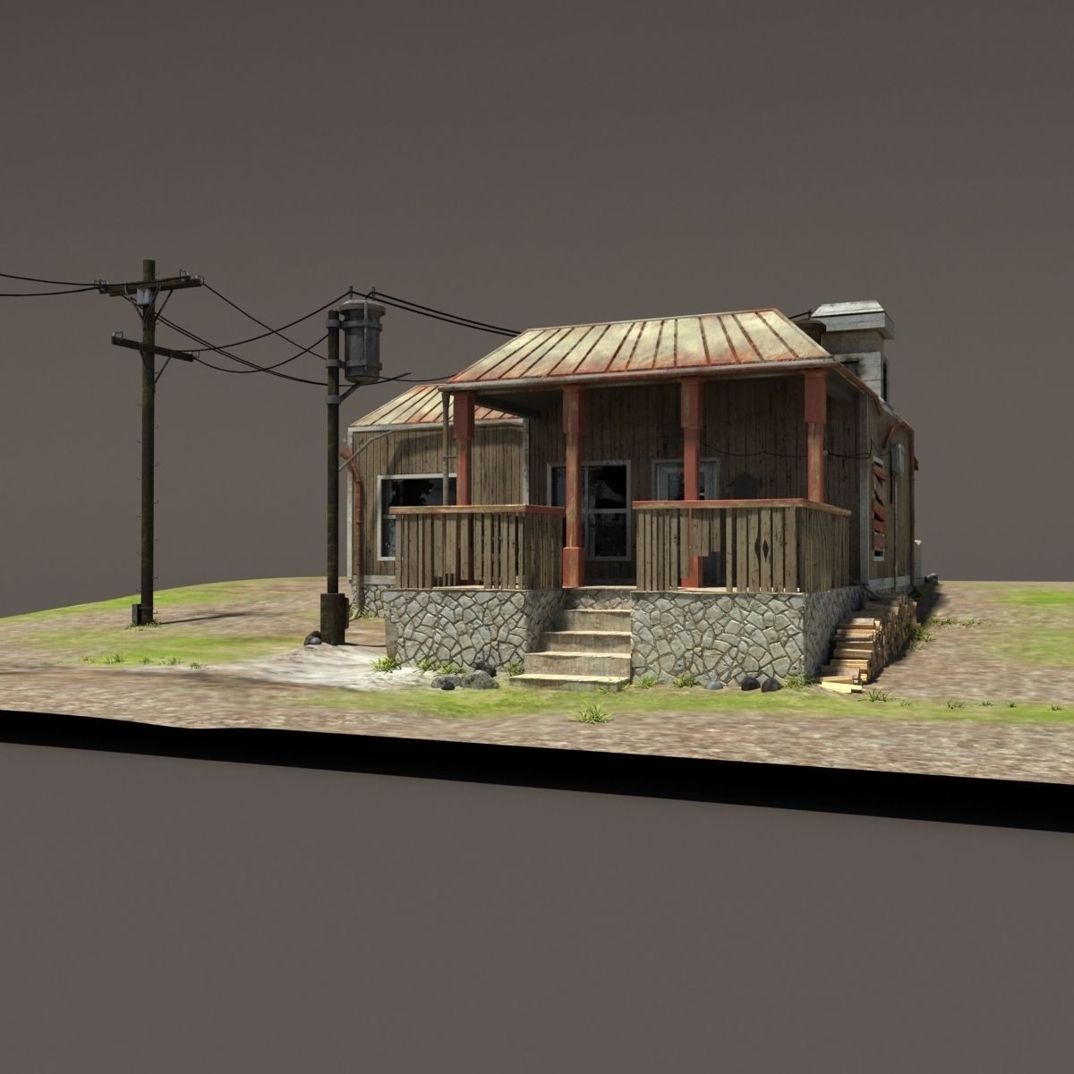 Zombie House Post Apocalyptic Ruin 3d Model Max Obj 3ds