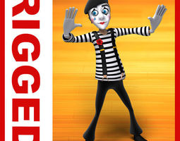 mime cartoon rigged  realtime 3d asset