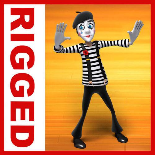 Mime cartoon rigged3D model