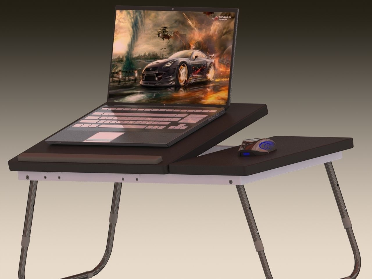 adjustable portable laptop table 3d model stl sldprt sldasm slddrw ige igs iges stp