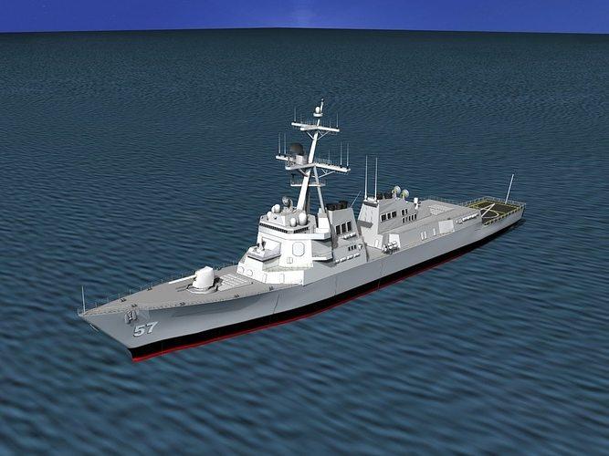burke class destroyer ddg 57 uss mitscher 3d model rigged max 3ds lwo lw lws dxf stl 3dm 1