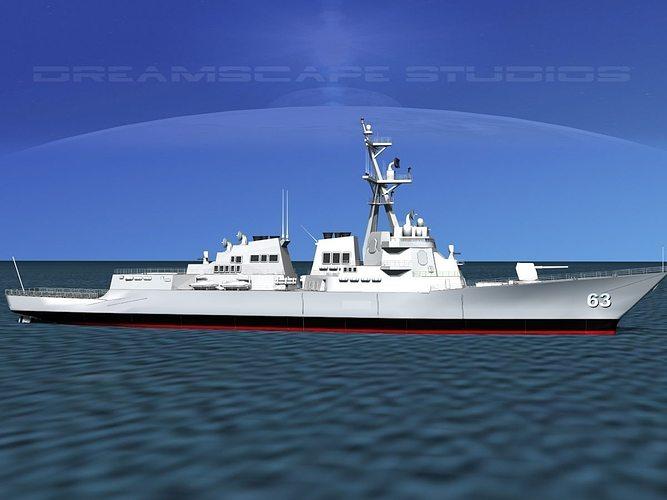 burke class destroyer ddg 63 uss stethem 3d model max 3ds lwo lw lws dxf stl 3dm 1