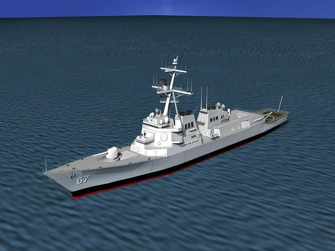 burke class destroyer ddg 67 uss cole 3d model rigged max 3ds lwo lw lws dxf stl 3dm 1