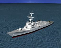 rigged 3d model burke class destroyer ddg 76 uss higgens