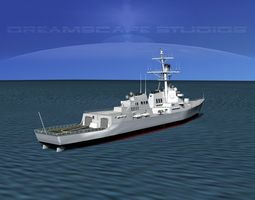 rigged 3d burke class destroyer ddg 88 uss preble