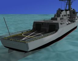 burke class destroyer ddg 100 uss kidd rigged 3d