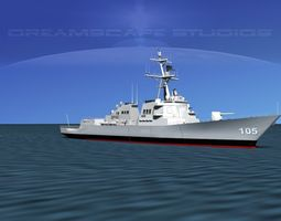 rigged burke class destroyer ddg 105 uss dewey 3d model