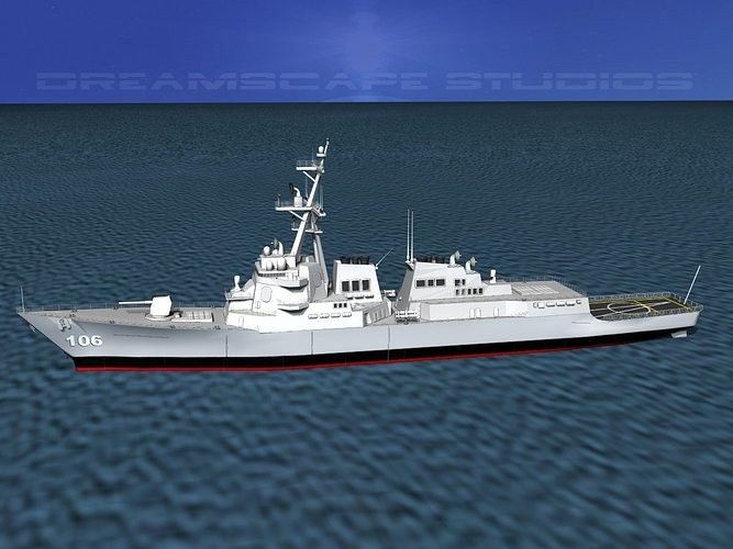 burke class destroyer ddg 106 uss stockdale 3d model rigged max 3ds lwo lw lws dxf stl 3dm 1