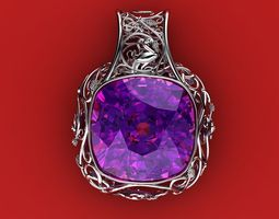 pendant with a large stone in the scandinavian style 3d printable model
