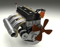 Mercedes 300SL Engine 3D Model