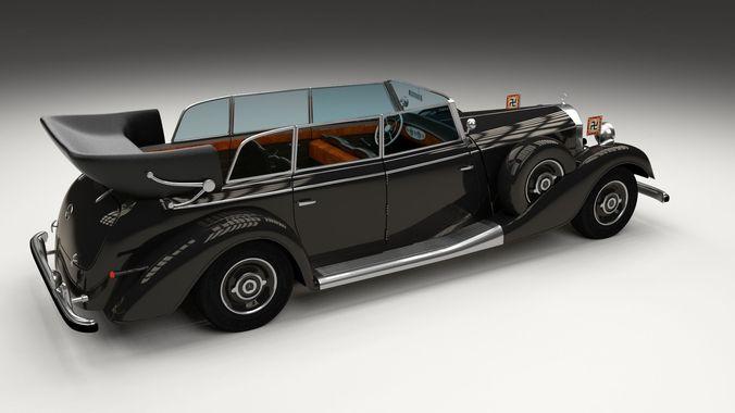 mercedes 770k grosser nazi staff car 3d model obj stl blend dae. Black Bedroom Furniture Sets. Home Design Ideas