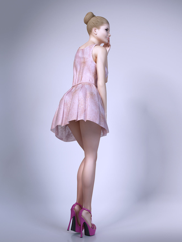 Girl Wearing Summer Dresses 3d Model Max Obj Fbx