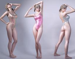 Girls wear sports swimsuit 3D Model