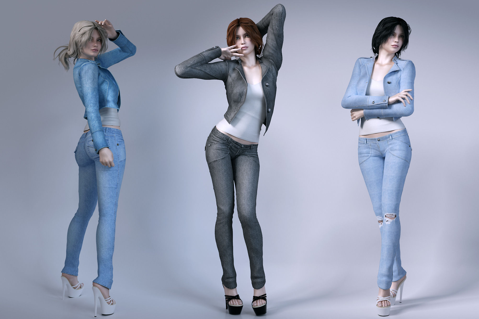 Girls Wear Jeans 3d Model Max Obj Fbx Mtl Cgtrader Com