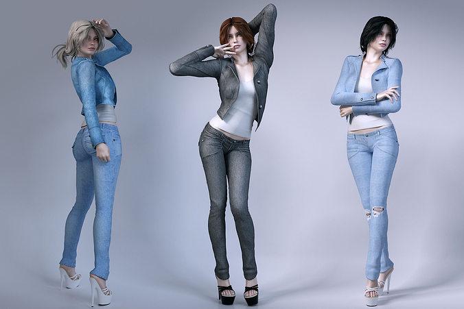 girls wear jeans 3d model max obj mtl fbx 1