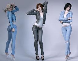 Girls wear jeans 3D Model