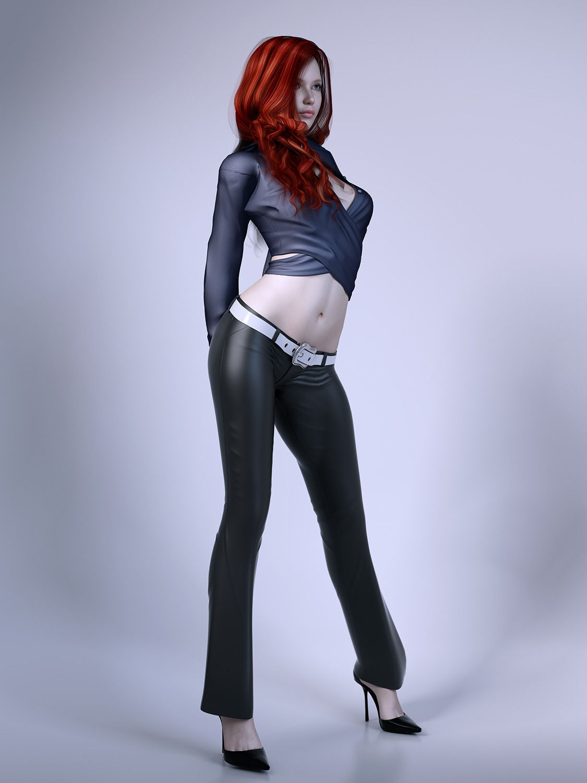 Pretty lady wearing leather pants 3D Model .max .obj .fbx ...