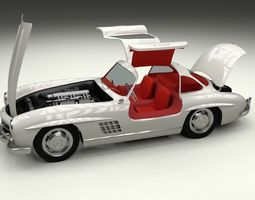Fully Modelled Rigged Mercedes 300SL Gullwing 3D Model