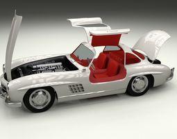 fully modelled rigged mercedes 300sl gullwing 3d model rigged obj stl blend dae