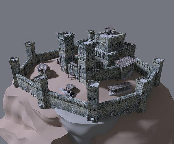 3d Medieval Castle Exterior Cgtrader