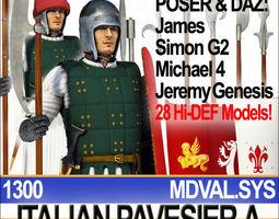 Italian Pavesier Soldier Props 1300 Poser Daz 3D Model