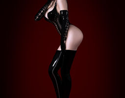 Woman wearing tight leather clothes 3D Model