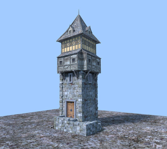 medieval watch tower3D model