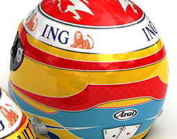 Fernando Alonso and Nelson Piquet Jr Nelsinho F1 Helmets 3D Model