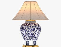 3d model  ralph lauren marlena large table lamp in blue and white