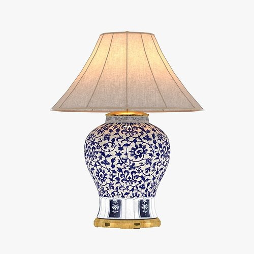 Marvelous Ralph Lauren MARLENA LARGE TABLE LAMP IN BLUE AND WHITE 3D Model