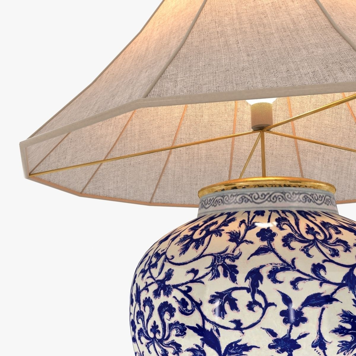 ... Ralph Lauren Marlena Large Table Lamp In Blue And White 3d Model Max  Obj 3ds Fbx ...