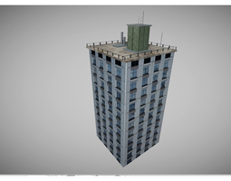 game-ready low poly city buidling 3d model