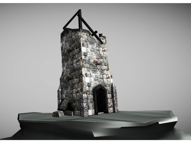 low poly ruined tower3D model