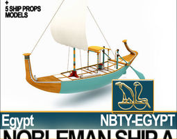 Ancient Egyptian Nobleman Ship and Naval Props 3D Model