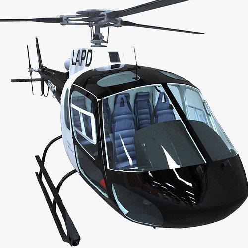 police helicopter 3d model obj fbx ma mb mtl 1