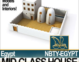 Ancient Egyptian Middle Class Complete House and Set Inter 3D Model