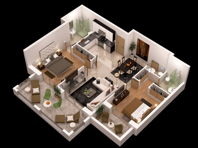 Https Www Cgtrader Com 3d Models Architectural Interior Other Detailed Floor Plan 3d