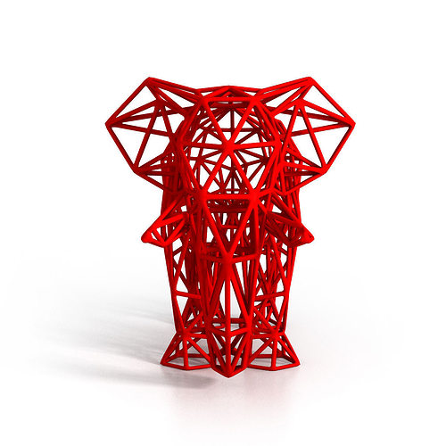 elephant wireframe 3d model stl 1