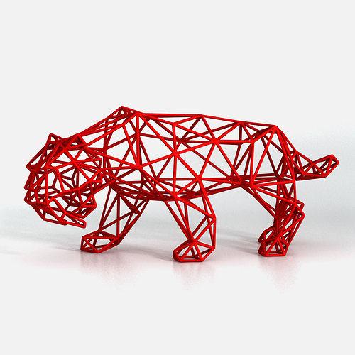 saber toothed tiger wireframe 3d model stl 1