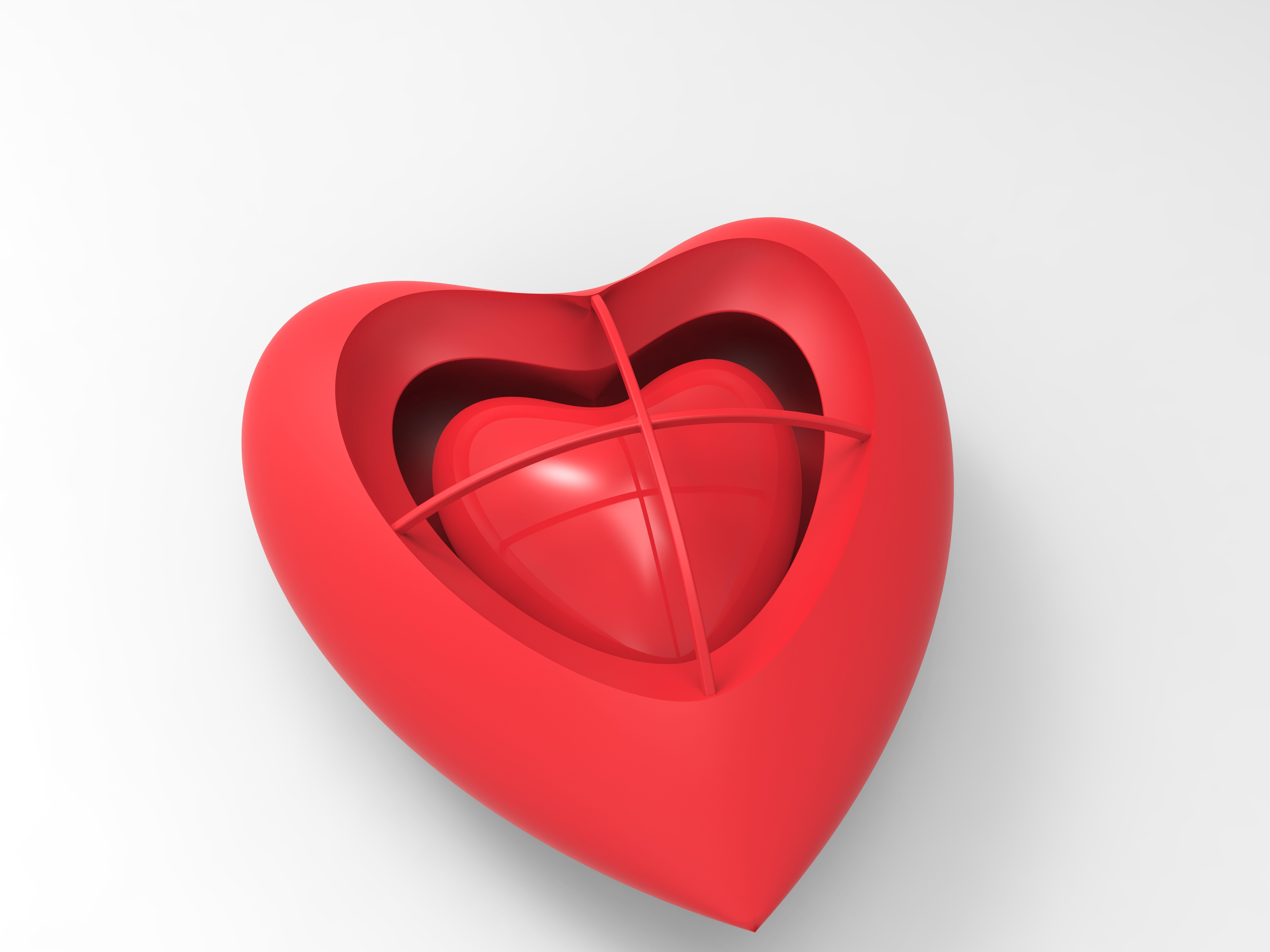 Heart Heart Earring 3D Model 3D Printable OBJ 3DS FBX C4D